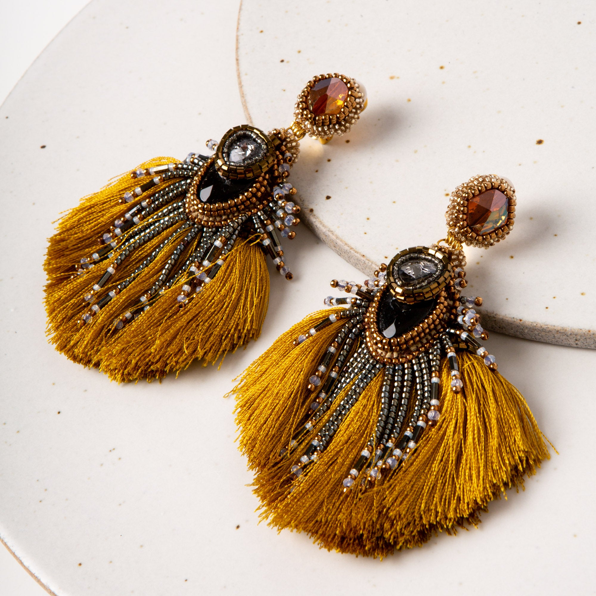 Plume Peacock Earrings / Chartreuse