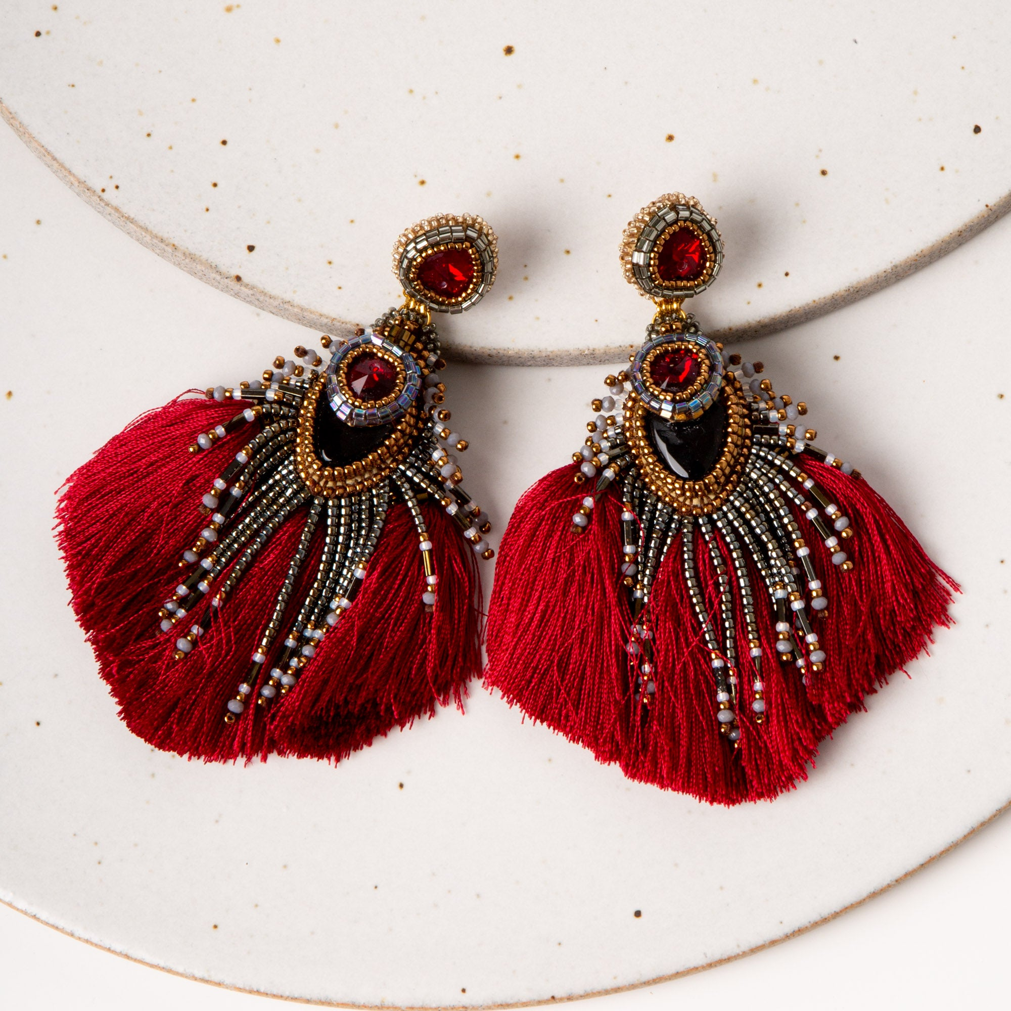 Plume Peacock Earrings / Red