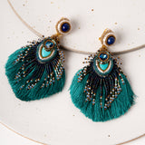 Plume Peacock Earrings / Teal