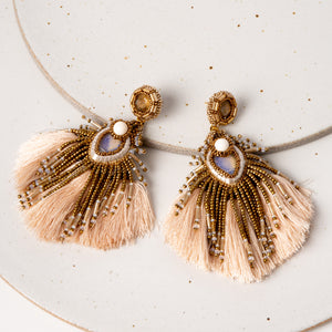 Plume Peacock Earrings / Ecru