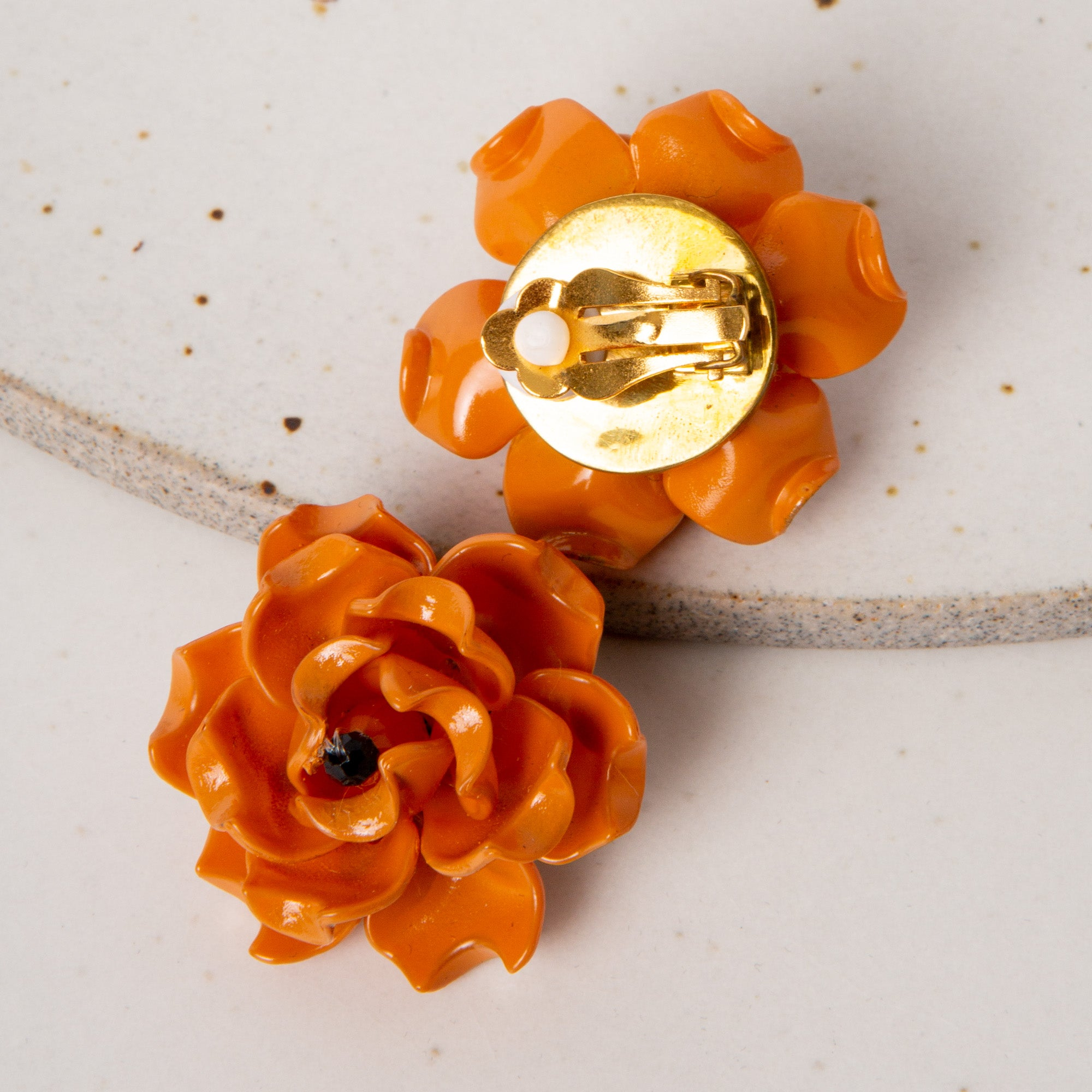 Fleur Petite Earrings / Orange