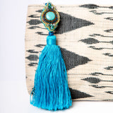 Cosette Ikat Clutch - White/Turquoise