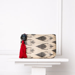 Cosette Ikat Clutch - White / Red