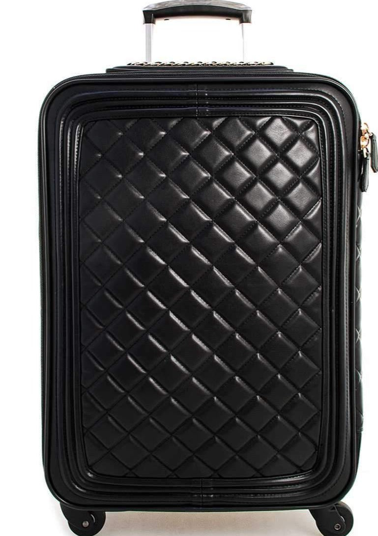 Quilted Leather Rolling Suitcase