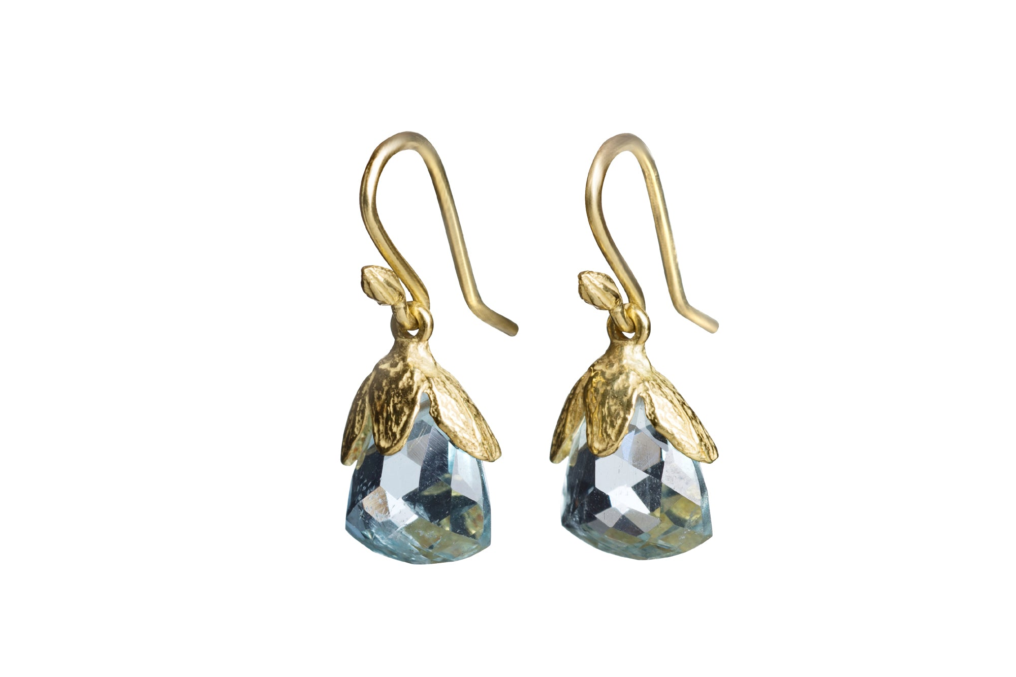 Faceted Triangle Exquisite Quality Aquamarine Single Seed Earrings