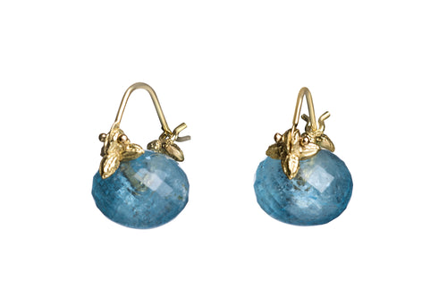 Faceted Rondelle Baby Aquamarine Flyer Earrings