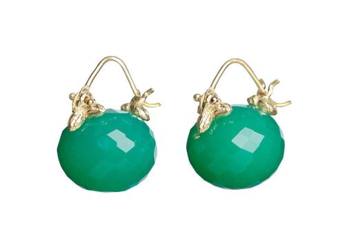 Faceted Rondelle Green Chrysoprase Flyer Earrings