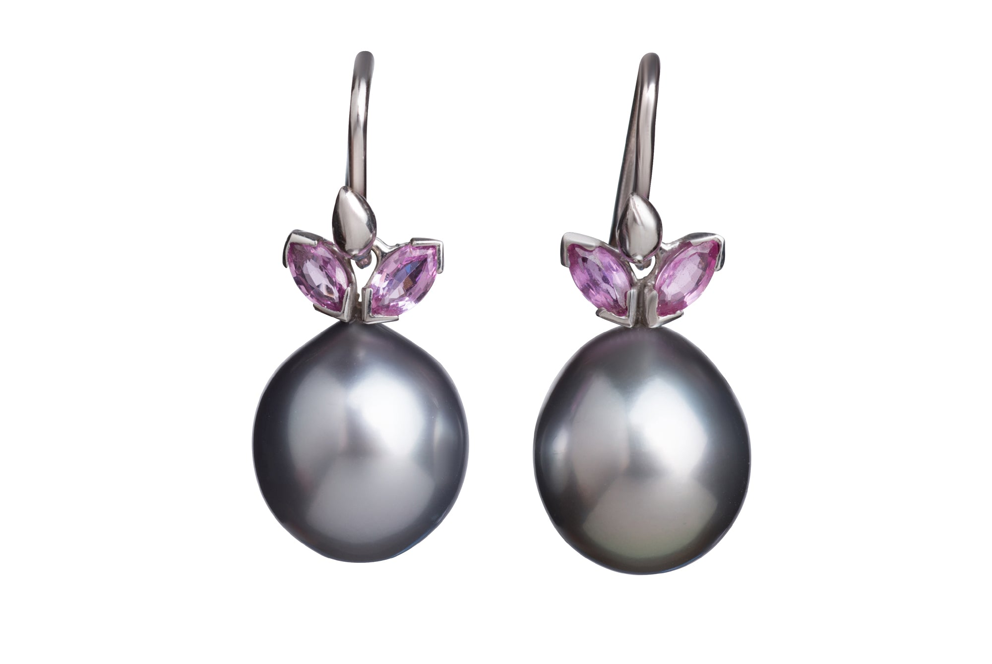 Gray Tahitial Pearl Drops with Pink Sapphire Earrings