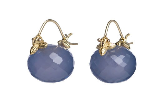 Faceted Rondelle Dark Blue Chalcedony Flyer Earrings