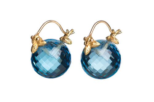 Faceted Round Swiss Blue Topaz Flyer Earrings