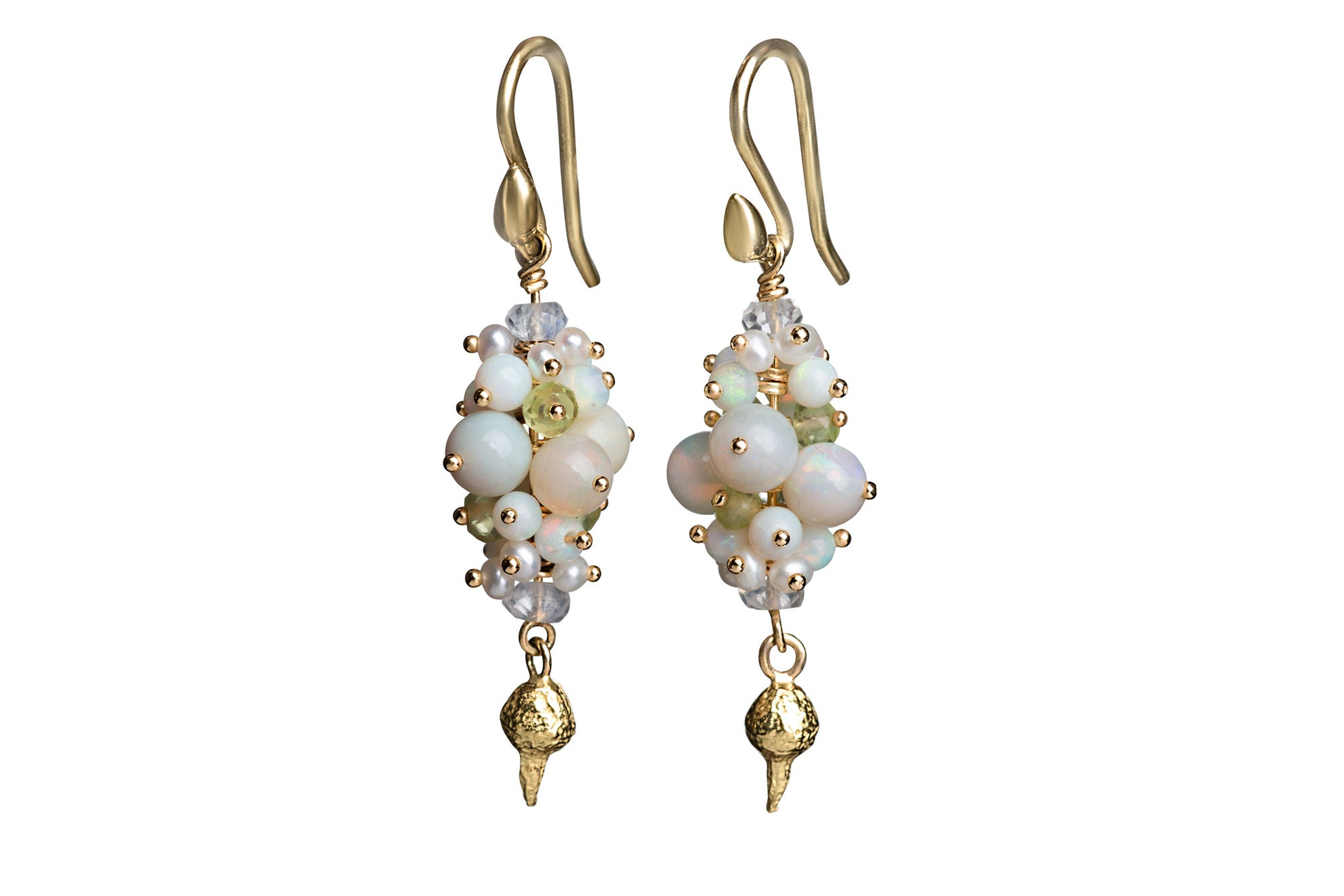 cluster gold lesley ann white jewels earrings products