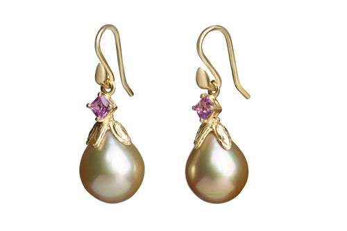 Golden South Sea Drop Pearls with Pink Sapphires
