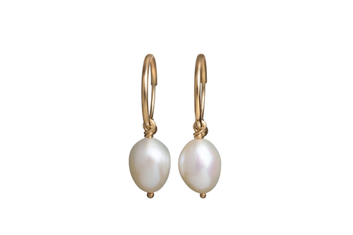 White Mini Freshwater Pearl on 14K Endless Hoops Earrings