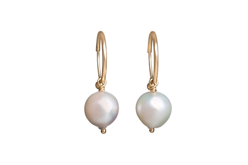 White Baroque Japanese Pearl on Small Endless Hoop Earrings