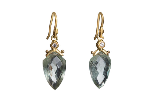 Faceted Green Amethyst Arrowhead Teardrop Earrings