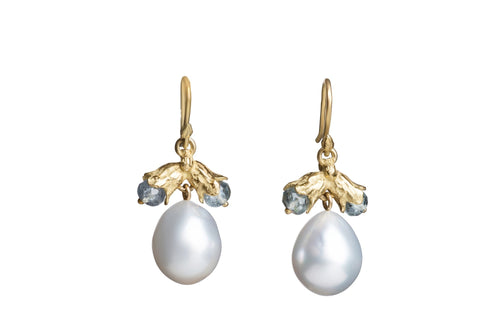 Gray South Sea Pearls and Lily Blue Tourmaline Earrings