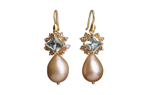Peach Freshwater Pearl with Large Pearl-studded Green Amethyst Earrings