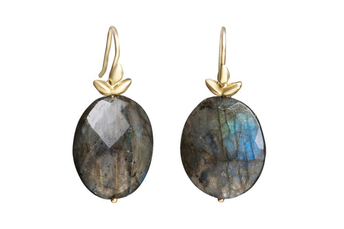 Flat Faceted Oval Labradorite Winged Earrings