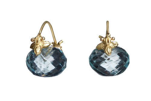 Baby Faceted Aquamarine Flyer Earrings
