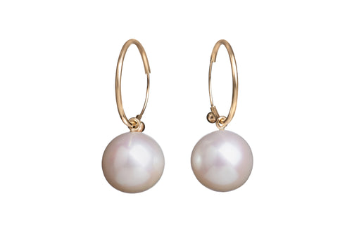White Round Freshwater Pearls on Endless Hoops Earrings