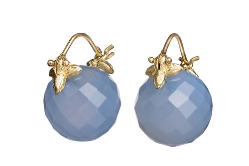 Faceted Round Deep Blue Chalcedony Flyer Earrings