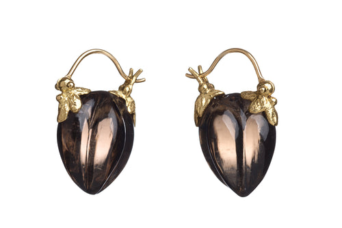 Gourd Pod Carved Smokey Quartz Earrings