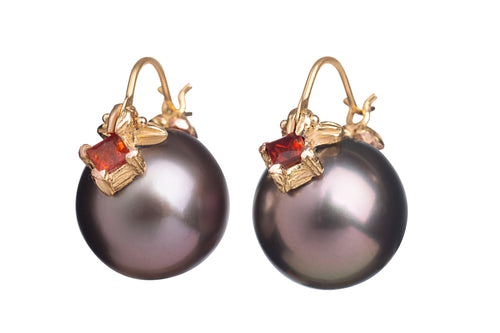 Aubergine Tahitian Pearls with Crimson Sapphires Flyer Earrings