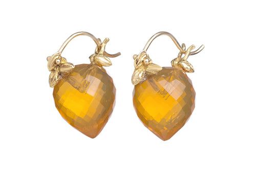 Faceted Turnip Shaped Mexican Fire Opal Flyer Earrings