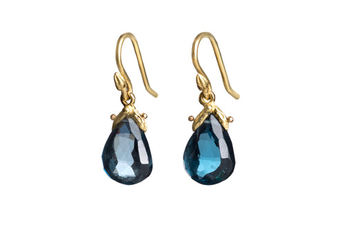 Flat Faceted London Blue Topaz Teardrop Earrings