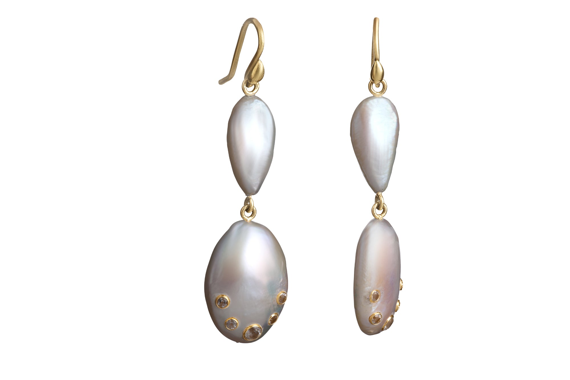 Double Tier Freshwater Pearl Earrings studded with Signities