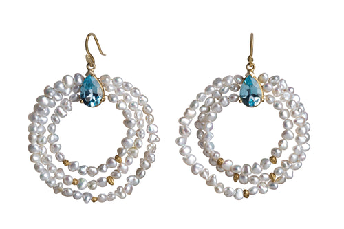 Triple Keshi and Blue Topaz Ferris Wheel Earrings