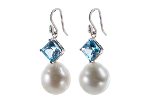 Large White South Sea Pearls Large Faceted Blue Topaz Earrings