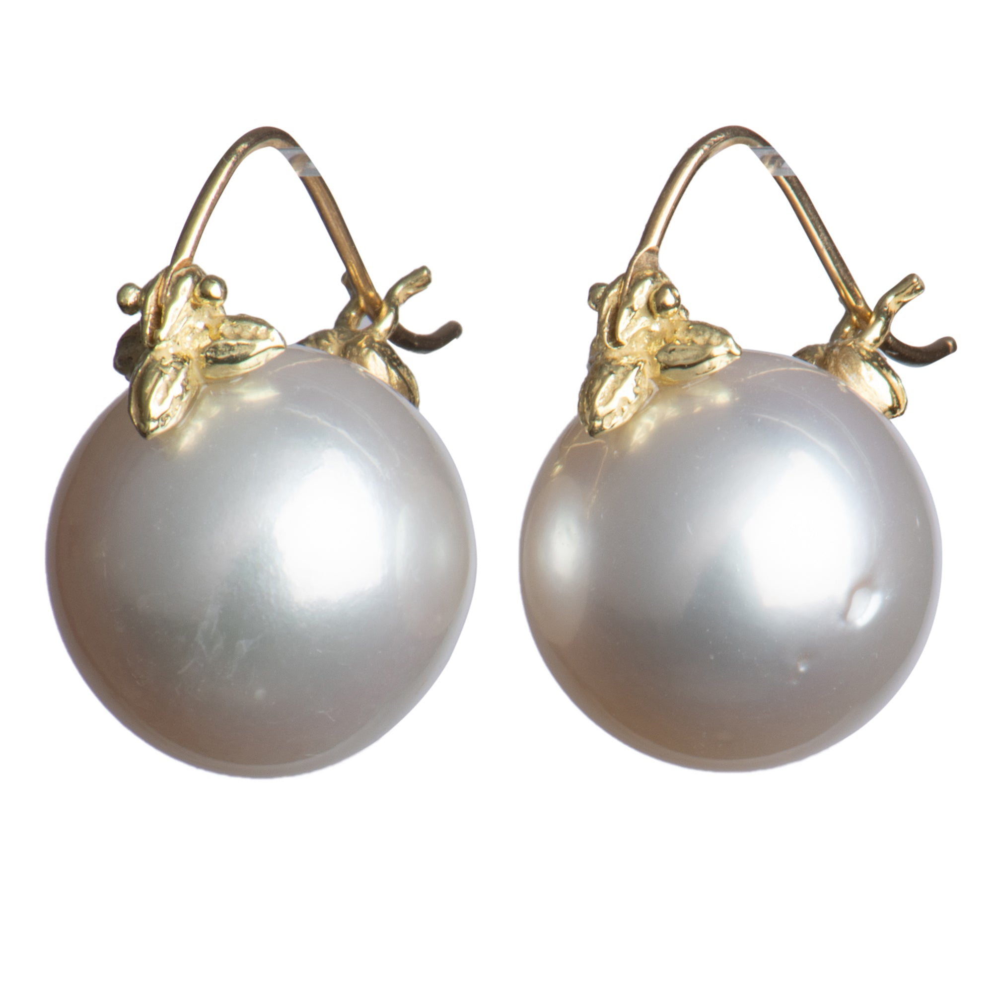 White Round 14mm South Sea Pearl 18k Flyer Earring