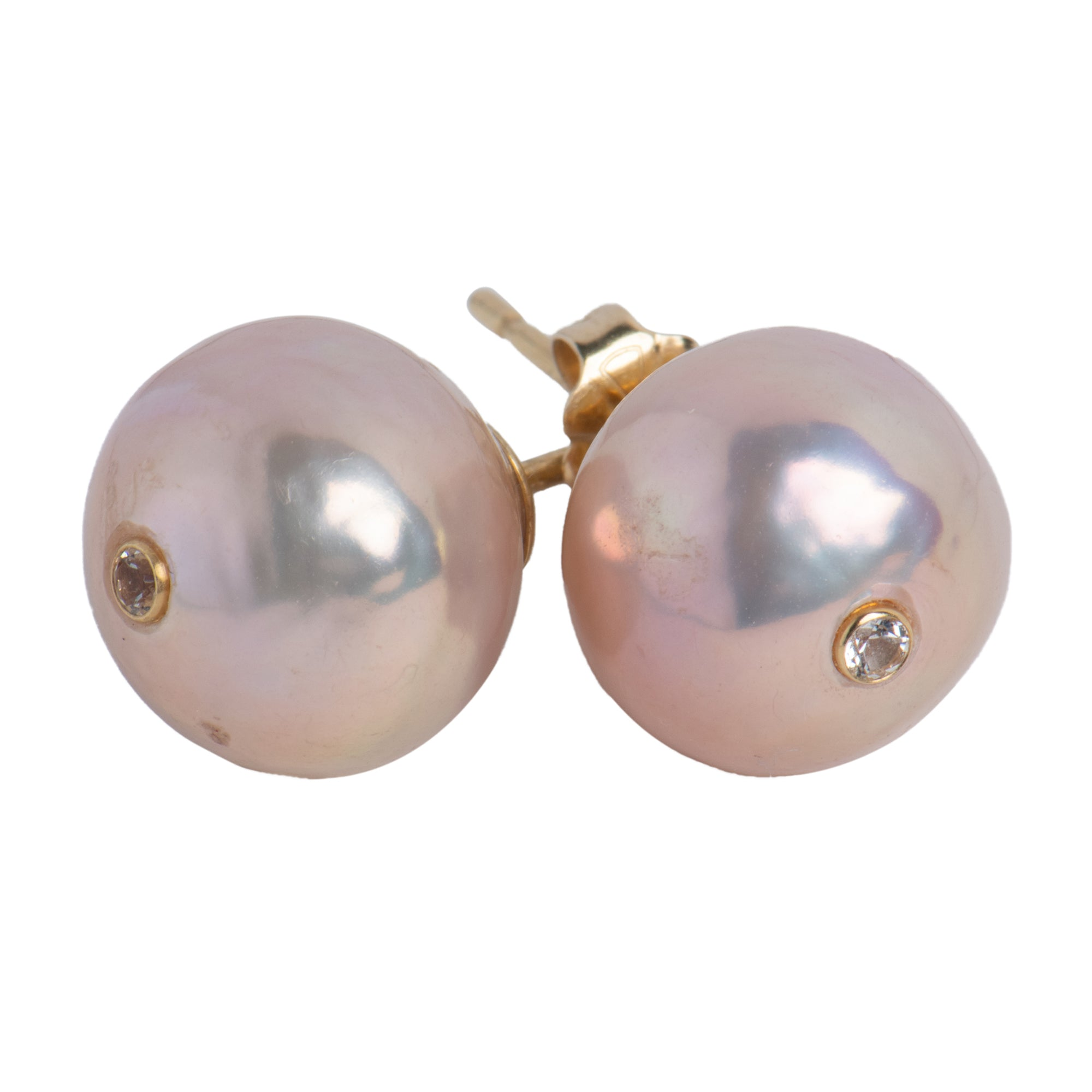 Pink Freshwater Pearl 14k Stud Earrings