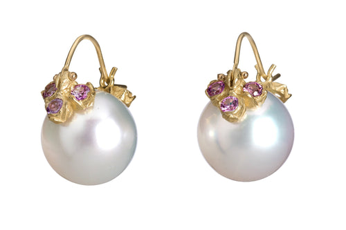 Pink Freshwater Pearl with Ten Lavender Sapphire Flyer Earrings