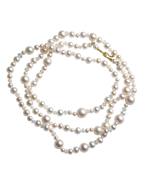 Freshwater Pearl and moonstone double wrap necklace