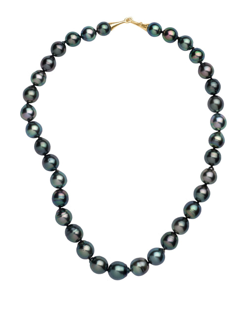 Drop shaped deep black Tahitian pearl necklace with gabrielle's classic medium 18k cone hk & eye clasp