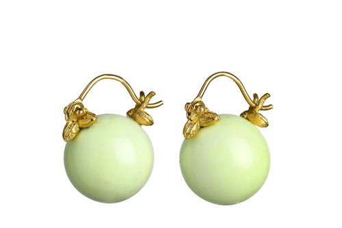 Smooth Round Lemon Chrysoprase Flyer Earrings
