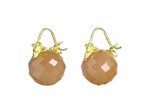 Faceted Round Peach Moonstone Flyer Earring