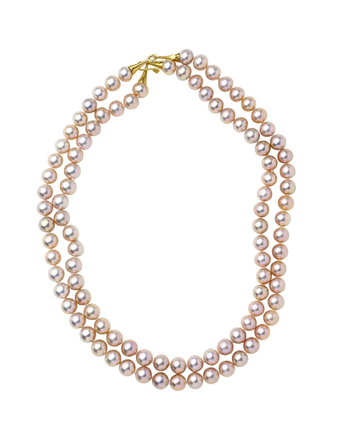 Metalic Pink Freshwater Pearl Nesting Necklaces