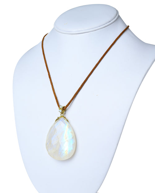 Moonstone Pendant On Leather