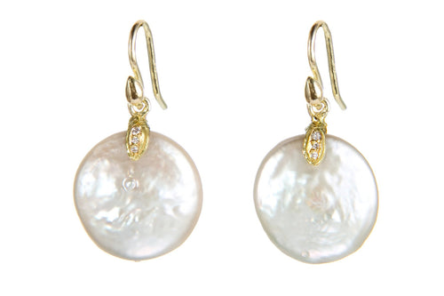 Freshwater Coin Pearl and 18 Karat Diamonds Earrings