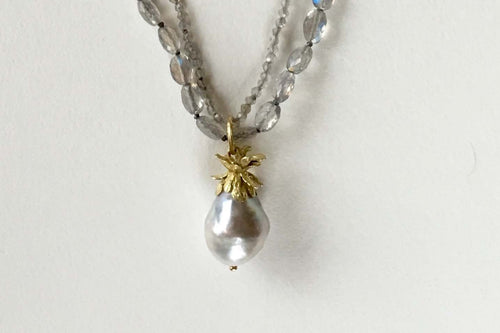 Tahitian Pearl Pineapple Cap Labradorite Strands Necklace