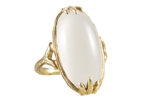Large Cabachon Smooth Moonstone Bezel Claw Textured Shank Ring