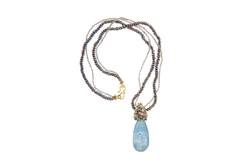 Seed Pearl Cluster Aquamarine Necklace
