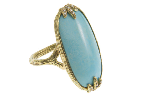 Oblong Persian Turquoise Diamond Studded Bezel Claw Ring