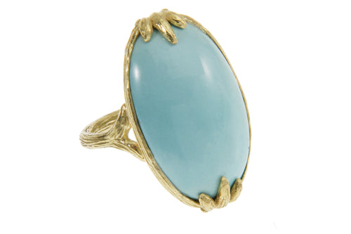 Large Cabachon Persian Turquoise Bezel Claw Ring