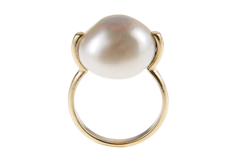 Domed Creamy Freshwater Pearl U Shank Ring