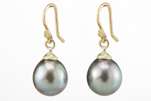 Gray Tahitian Pearls Cone & Cap Earrings