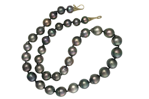 Jet Black Egg Shaped Black Tahitian Pearl  Necklace